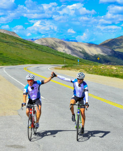 Simon, pictured at left, cresting the top of Independence Pass.